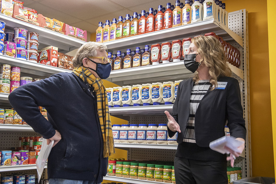 WVU President Gordon Gee tours The Rack with Allison McGee, corporate affairs manager for Kroger Mid-Atlantic on Wednesday, Feb. 17, 2021.
