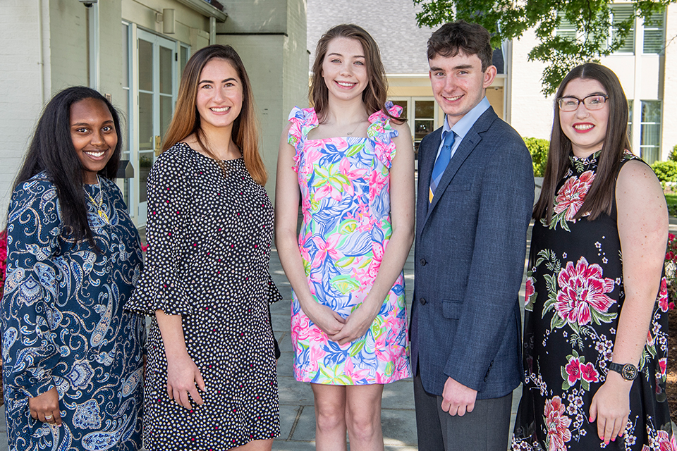 WVU Foundation Scholars L-R: Marleah Knights, Daisy Levine, Piper Cook, Michael DiBacco, Lillian Bischof.