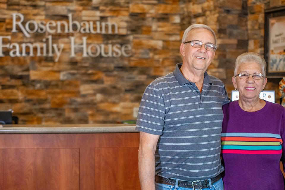 Whenever Larry Cole returns to Morgantown for cancer treatment, he and his wife, Becky, always get a warm welcome at Rosenbaum Family House.